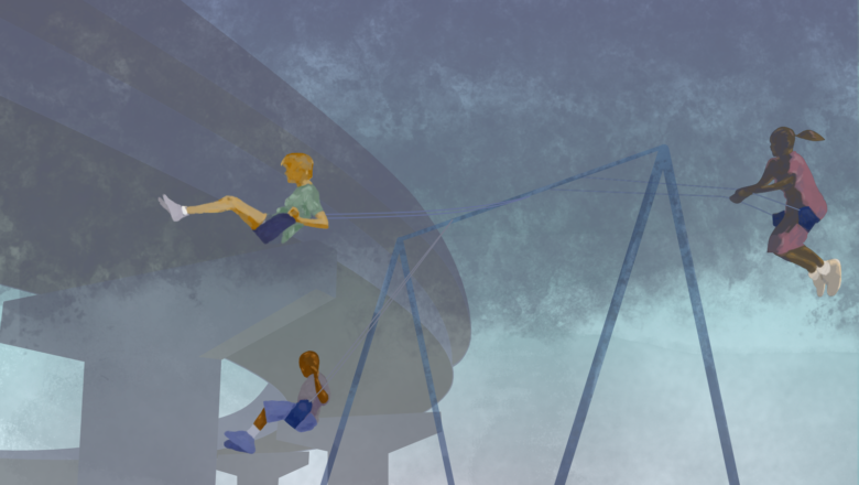 cartoon image of kids swinging in polluted air